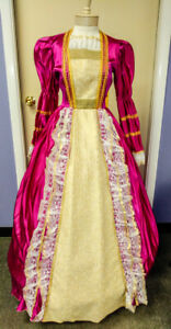 Colonial 18th Century Costume Dress Brite Pink /Gold Poly Satin Fancy Gown MD