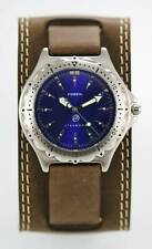Fossil Watch Mens Blue Stainless Silver 100m Water Resist Brown Leather Quartz