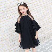 Summer Teen Girls Dress Flare Sleeve Black Chiffon Dress for Teenage girl Kids D