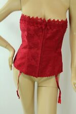 Fredericks of Hollywood Dream Corset sz 40 Red Jacard garters