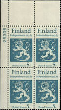 US #1334 MNH plate block of 4, 5c Finland Independence