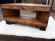 Corner Rustic Pine TV Unit solid chunky wood stand/cabinet - Tudor oak wax