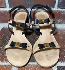 Tory Burch 'Kailey' Two-Tone Bow Heeled Slingback Sandals - Women's Size 9 1/2