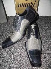 NWT New Mauri Italy 44151 Believer Grey Black Full Alligator Crocodile Shoes 11