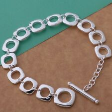 Bracelet T- Bar Chain Linked 925 Sterling Silver Juicy Genuine Gift Bag Woman's