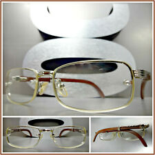 Men Sophisticated CLASSY ELEGANT Clear Lens EYE GLASSES Silver Wood Wooden Frame