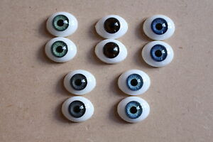 SOLID GLASS EYES 10mm - 24mm QUALITY FLAT BACK OVAL FOR REBORN OOAK BABIES DOLLS
