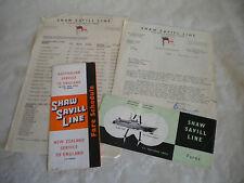 Ephemera Ocean liner Shaw Savill line S.S Southern Cross fares paperwork 1955