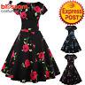 K297 Retro 50s Rockabilly Vintage Floral Rose Swing Dress 1950s Evening Formal