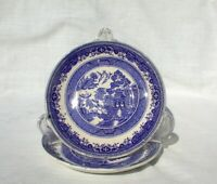 TWO St Amand Blue Willow Saucers France