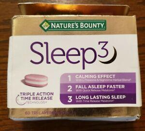 Nature's Bounty Sleep3  60 Tri-Layered Tablets 9/2022