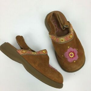 Munchkin Nika Leather Clog Baby Girl 7M Suede Floral Back Strape Cognac Brown