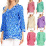 Plus Size Womens Casual V-Neck Print 3/4 Sleeve Ladies T-Shirt Blouse Tops V