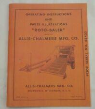 Early Allis Chalmers Roto Baler Mini Round Hay Operators Amp Parts Manual Tpl 212g