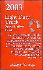 2003 Service Specs Book Lincoln Aviator Navigator Ford Explorer Expedition