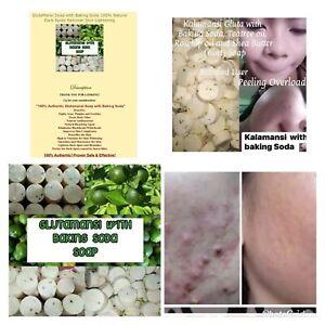 4 Glutamansi Soap W/ Baking Soda Lightening Dark Spot Fight Acne 100% Natural