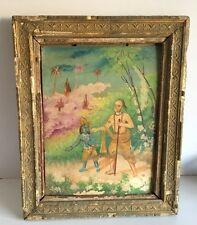 Antique Fine Artist Signed Oil Hindu Lord Krishna Sudama Painting Tin Framed
