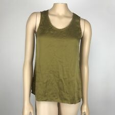 Eileen Fisher Silk Top Women's Size XS X Small Olive Green Tank Sleeveless