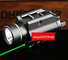 Combo Metal Green Dot Laser Sight LED Flashlight 20mm rail For G 17 Hunting