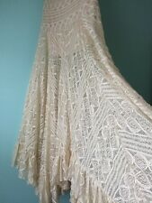 Free People maxi ivory cream lace skirt ruffled flair hippie boho asymmetrical
