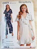 Simplicity D0874 Sewing Pattern Misses Jumpsuit Dress Belt Size 6-14