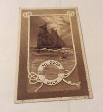 Vintage Paper Ephemera, Postcard, Good Luck, Ship
