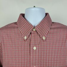 Brooks Brothers Non Iron Red Check Plaid Mens Dress Button Shirt Size Large L