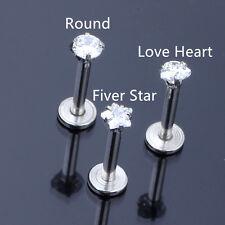 16G CZ Gem Round Tragus Lip Ring Monroe Ear Cartilage Stud Earring Bar Piercing