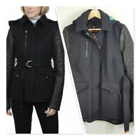 [ VICTORINOX ] Womens Black Wool Jacket with Leather Sleeves | L AU 14 or US 10