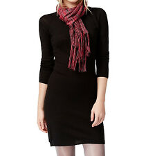 New ENERGIE Juniors Long Sleeve Knit Sweater Dress Tunic With Scarf XS Black