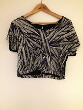 Blue, White and Black Patterned Top Size 8