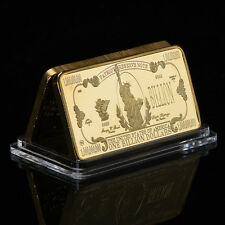 WR One Billion Dollar Bullion Bar American Gold Plated Clad Big Value Collection