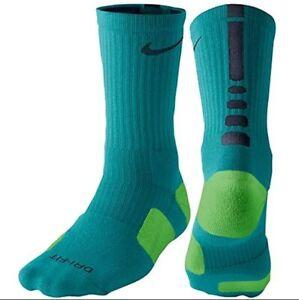 Nike Dri-Fit Elite Basketball Crew Socks Emerald Green / Navy SX3629 - 344 NEW