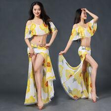 New 2017 Women Flower Prints Belly Dance Costumes 2Pics Top & Long Skirt Dress