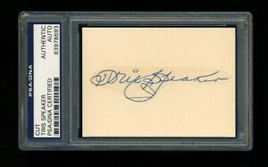TRIS SPEAKER SIGNED MINT CUT PSA/DNA SLABBED AUTOGRAPHED HOF BOSTON RED SOX WSC