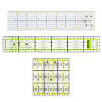 3pcs 15x15cm/10x45cm/5x30cm Acrylic Quilting Quilters Ruler Cutting Rulers