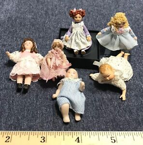 Lot of Dollhouse Miniature Dolls - Some Vintage 1:12 scale baby doll
