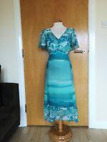 Ladies PER UNA Dress Size 12 Aqua Chiffon Party Evening Wedding Races