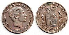 España-Alfonso XII. 5 Centimos 1877. Barcelona.  MBC+/VF+. Cobre 5,1 g. Bella