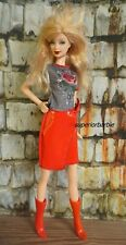 BARBIE ROCKER FASHIONS Red Leather Skirt Rose Top and Boots