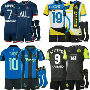 New 21/22 Kid Full Football Kits Boy Girls Adult Soccer Training Jersey Strips