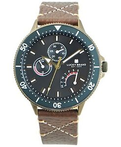LUCKY BRAND Dillon cross stitch brown leather strap 42mm Men's watch