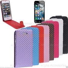 Para iPhone 5 5S SE caso a prueba de choques Fibra De Carbono Bolsa De Cuero Cubierta Magnética