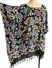 Ladies short Kaftan Poncho Tunic top beach wear fits large plus size fringed new