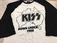 KISS OZ TOUR T-SHIRT RAGLAN LTD ED RARE AUSTRALIAN KISS TOUR 1980 DOWN UNDER