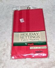 Holiday Settings Fabric Napkins Valentine Red Woven Shadow Stripe 17 x 17 NIP