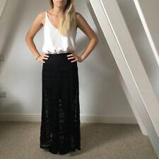 H&M Black Lace Maxi Skirt 10 UK BNWT Festival Sheer Lined