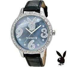 Playboy Watch Bunny Logo Blue Shell Face Swarovski Crystals Black Leather Band