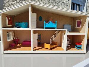 Vintage LUNDBY Maison de poupée meubles et salle de bain lit chaises rideaux