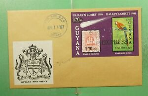 DR WHO 1987 GUYANA FDC SPACE HALLEYS COMET IMPERF S/S EXPRESS OVPT  g13420